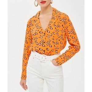 TOPSHOP   Petite Leopard Print ButtonUp PJ Blouse